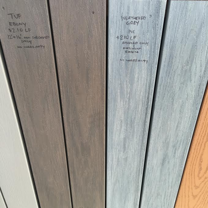 tuf ebony and weathered grey pvc decking instock sale