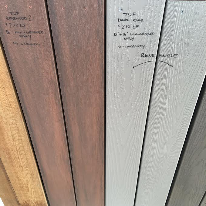 tuf rosewood and gray oak pvc decking instock