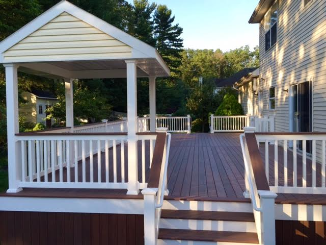 dong wolf rail and rosewood decking pvc