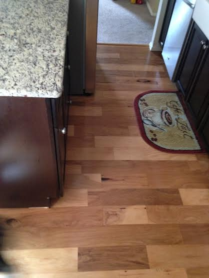 tsg forevermark k series kitchen cabinets, st cecilia granite, engineered hickory hardwood flooring