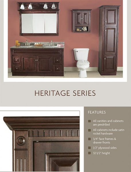 heritage vanity bathroom furniture in stock cabinet all wood discount