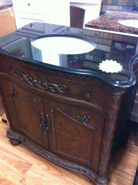 tuscany furniture bathroom vanity with granite top bowl in ...