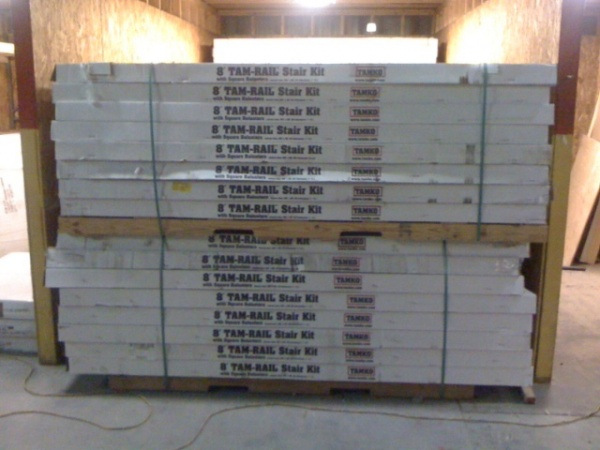 Tamrail1 stair kits white vinyl deck railing in stock sale for Cheap decking kits sale