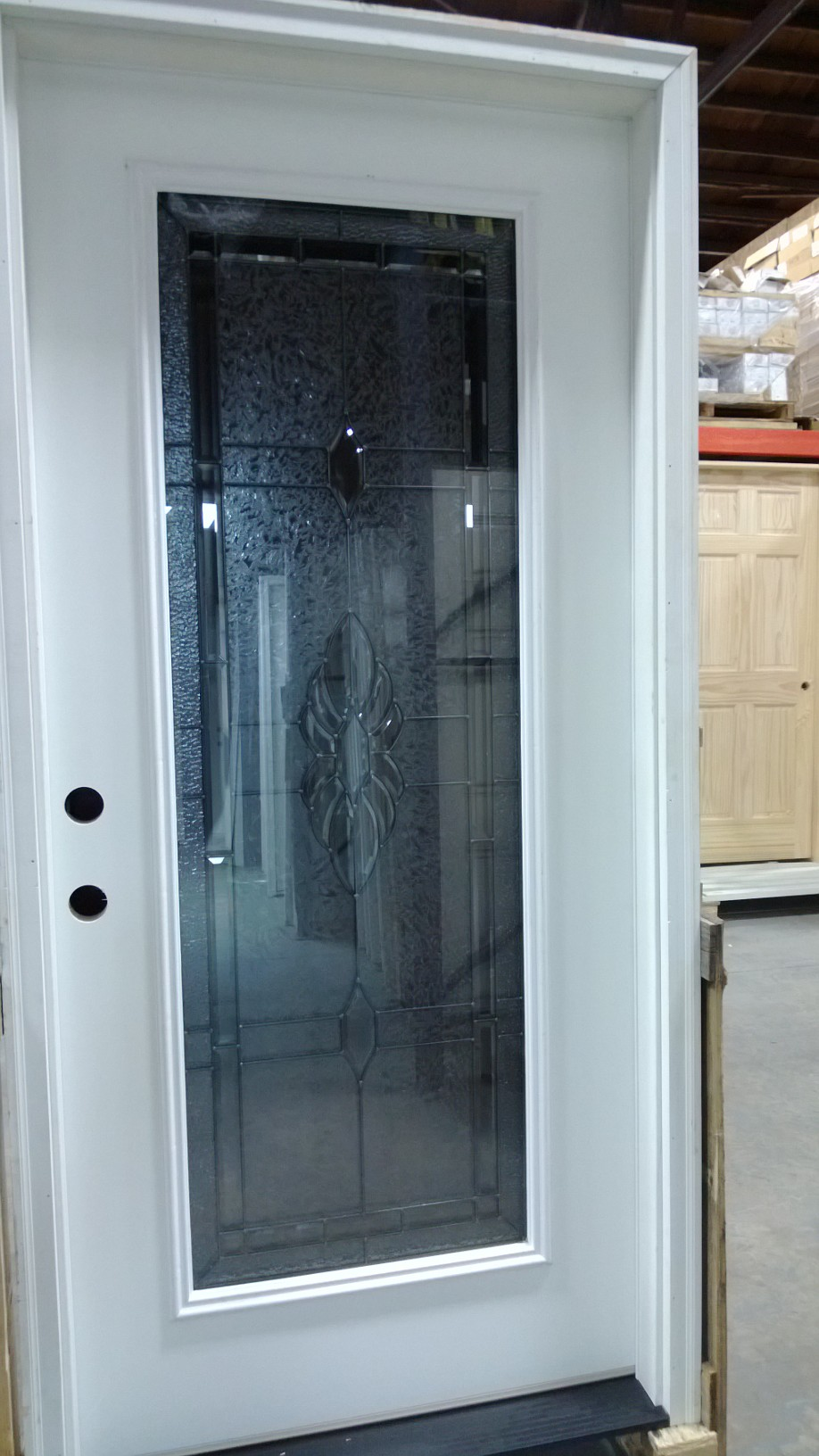 Exterior Pre Hung Door Decorative Glass Fiberglass