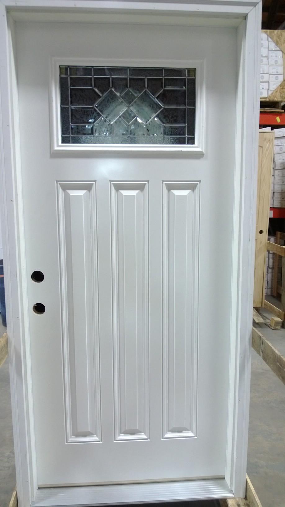Exterior pre hung door decorative glass fiberglass for Single sliding exterior door