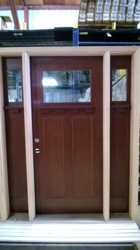 6 Craftsman Exterior Fiberglass Door W Sidelights 64 1 2in