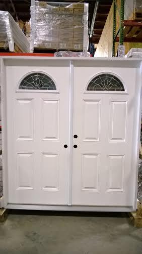 8 Exterior Double Door Half Moon Glass 74in
