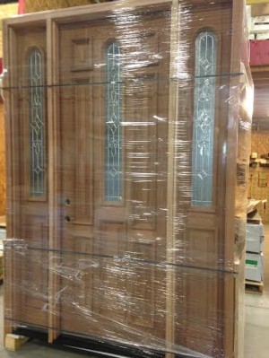 8ft Solid Wood Front Entrance Doors With Sidelight