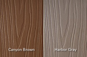 fiberon pvc coated composite decking lumber canyon brown harbor gray