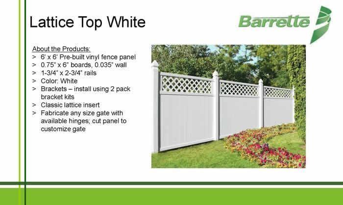Overstock Barrette White Vinyl Privacy Fence With Lattice